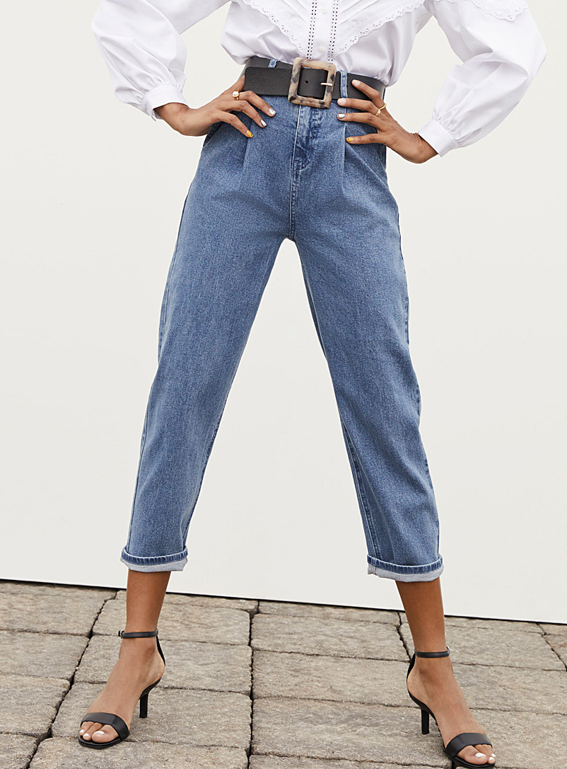 Ic?ne Blue Pleated balloon jean for women