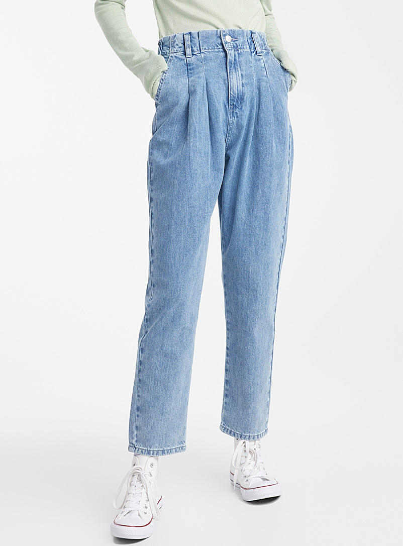 Twik Slate Blue Loose pleated-waist jean for women