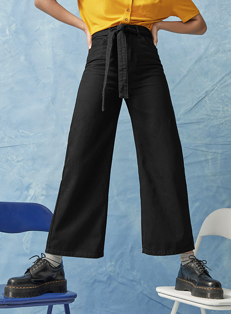 Twik Black Tie-belt wide-leg high-rise jean  Folk fit for women
