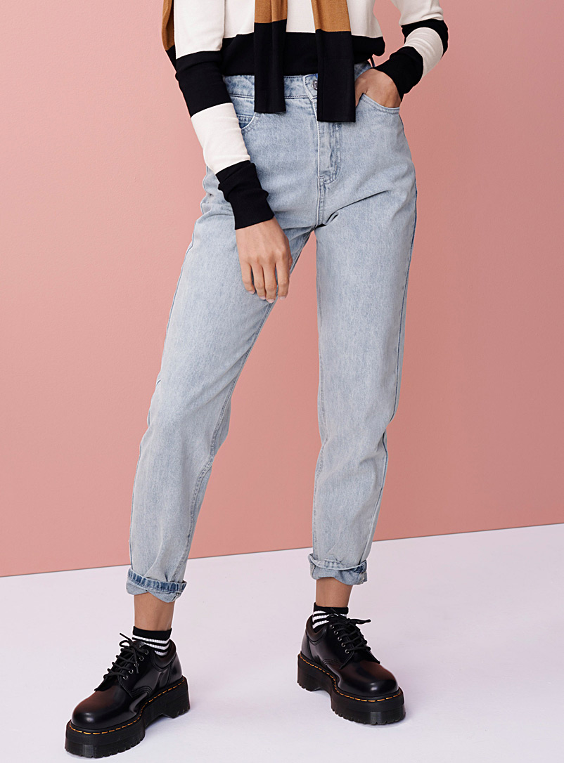 Twik Slate Blue Basic vintage mom jean  Old School fit for women