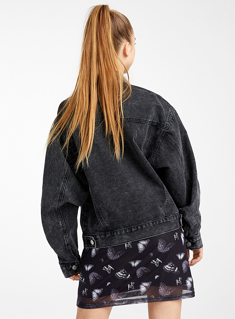 Twik Charcoal Cropped oversized jean jacket for women
