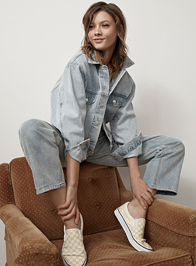 Cropped oversized jean jacket
