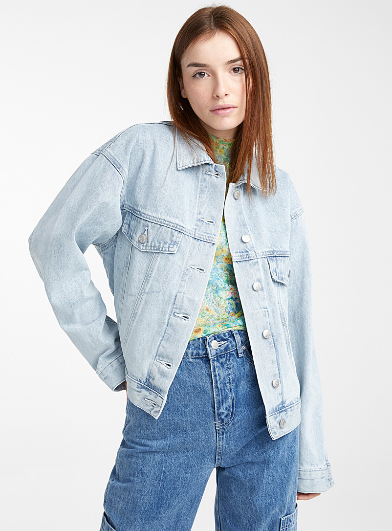 Twik Teal Cropped oversized jean jacket for women