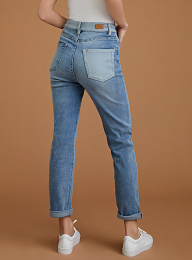 Faded high-rise straight-leg jean