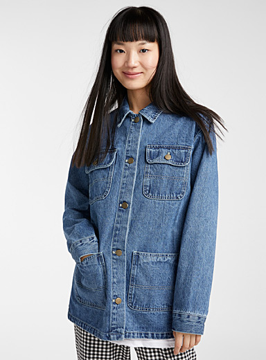 Twik Blue Utility boyfriend jean jacket for women
