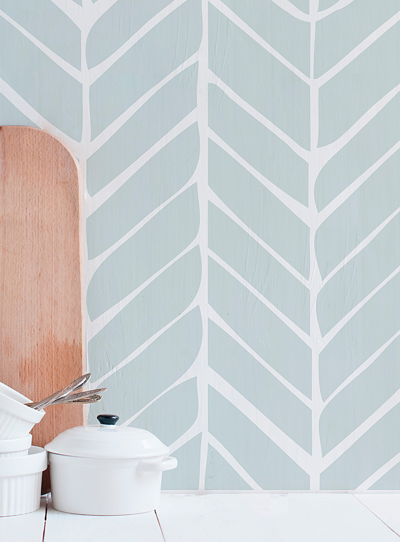 Adzif Patterned Grey Chevron latte wallpaper tiles  Set of 2