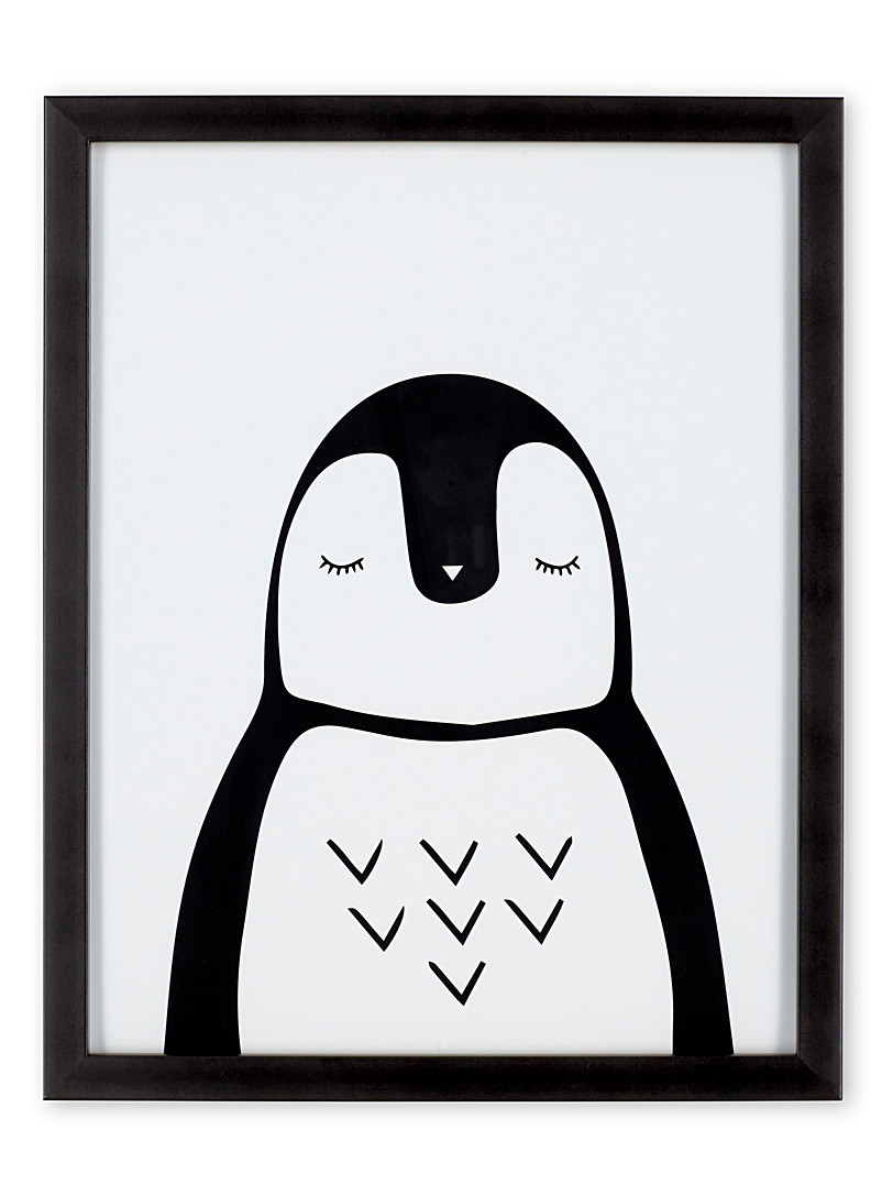 Penguin art print  12&quote; x 15&quote; - Kids - Black and White
