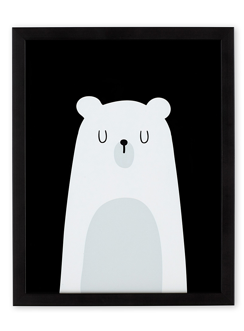 Polar bear art print  12&quote; x 15&quote; - Kids - Black and White