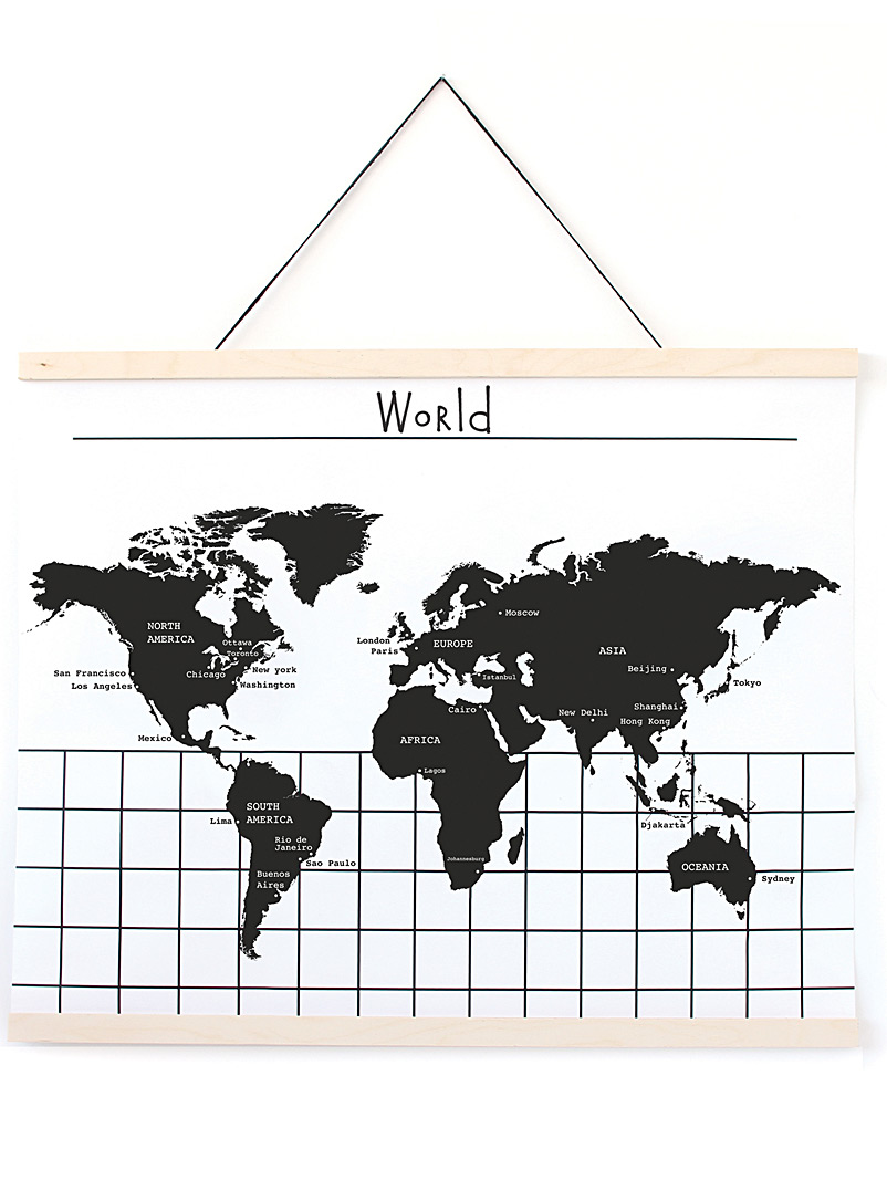 Gautier Studio: L'affiche World Map Blanc et noir