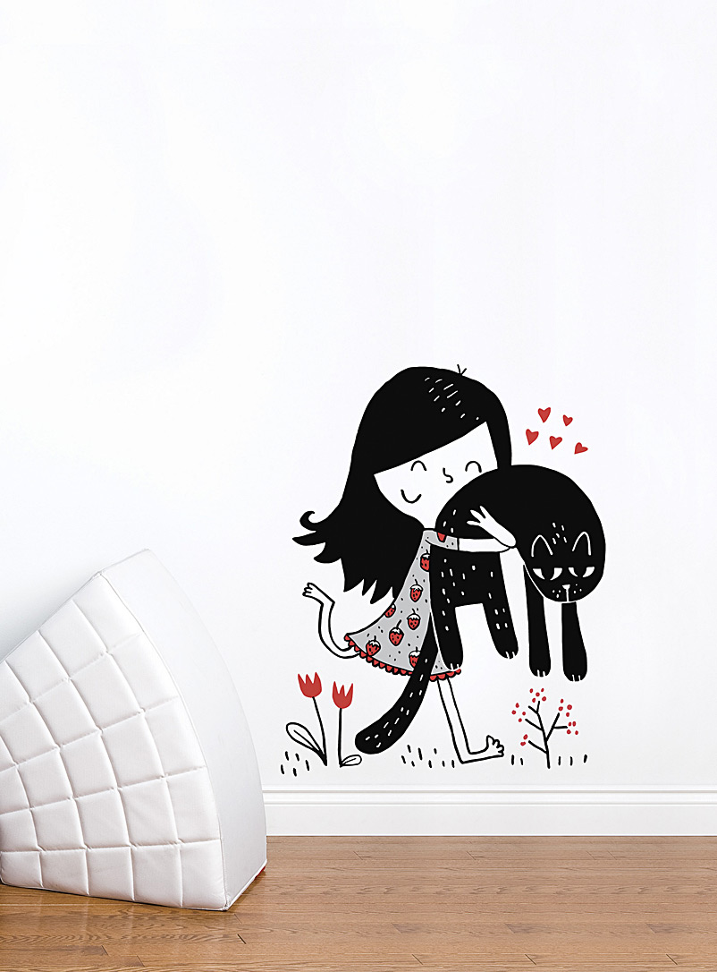 little-girl-and-her-cat-wall-sticker