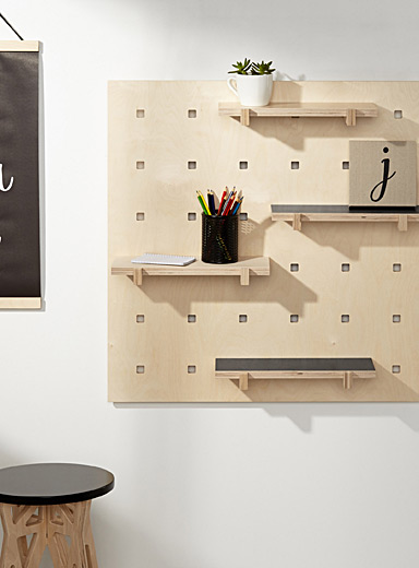 Wall mount with black shelves