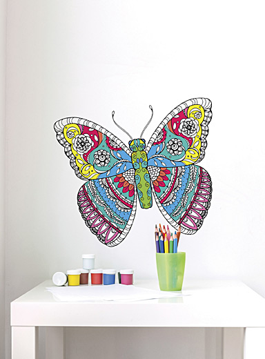 Adzif Black and White Butterfly mandala colour-in wall sticker