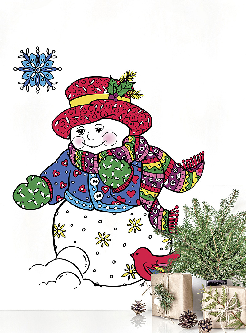 Snowman colour-in wall sticker