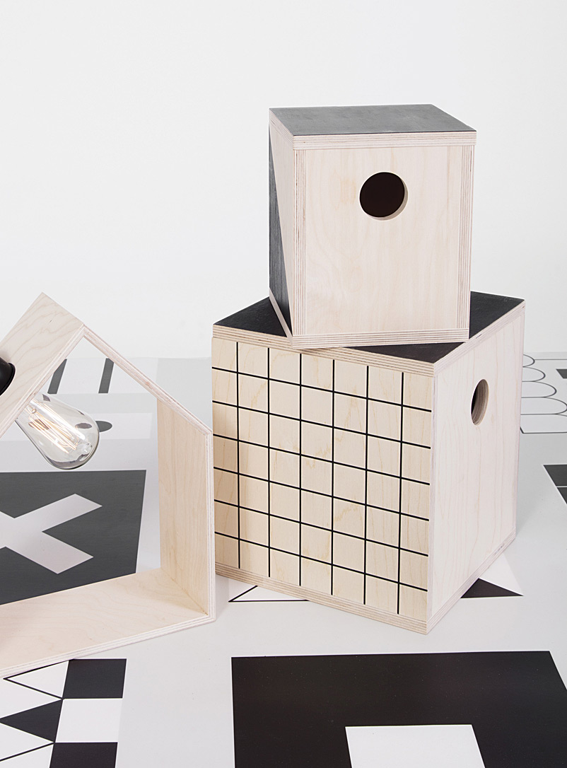 Large geometric storage cube - Kids - Black and White