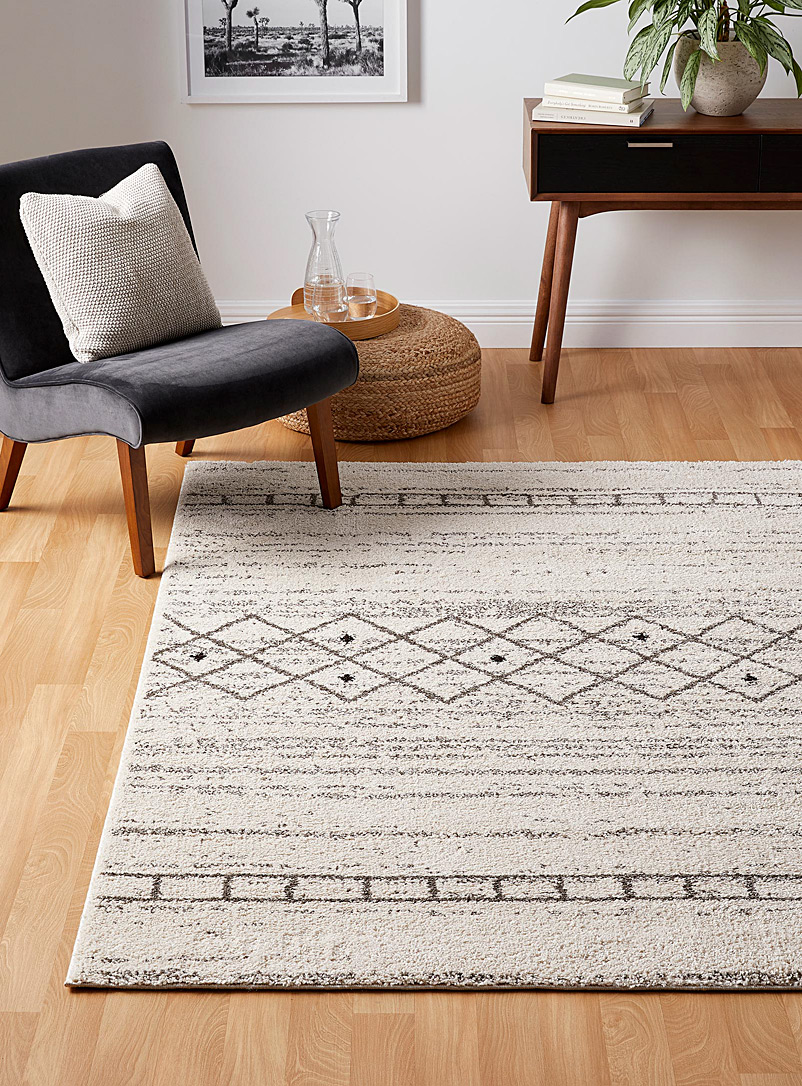 Simons Maison Patterned Ecru Graphic boho rug