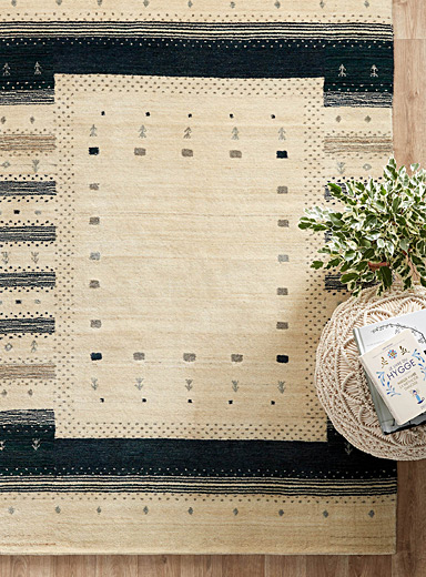 Blue and beige artisanal Gabbeh rug