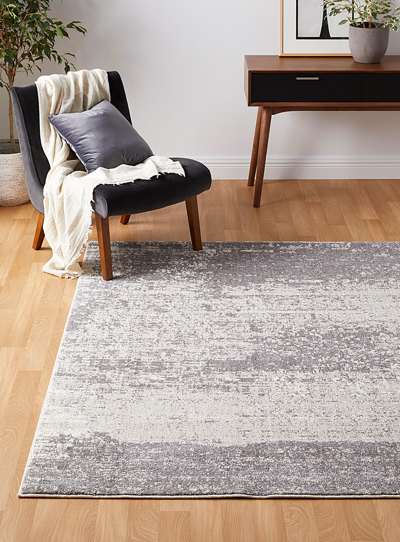 Simons Maison Ivory White Abstract shag rug