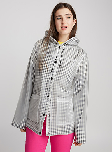 Transparent gingham raincoat