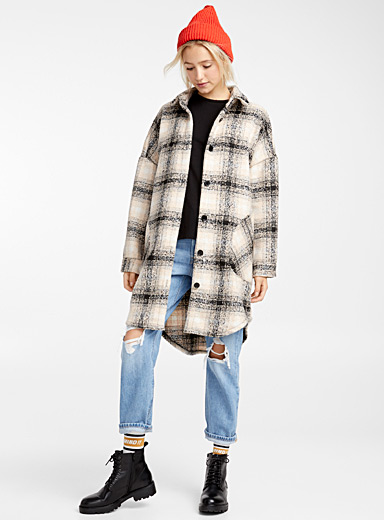 Checked brushed overshirt