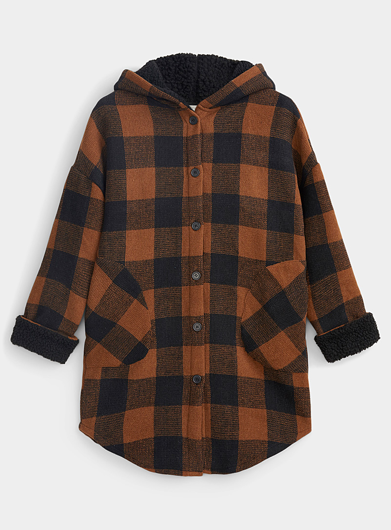 Twik Medium Brown Accent check brushed overshirt for women