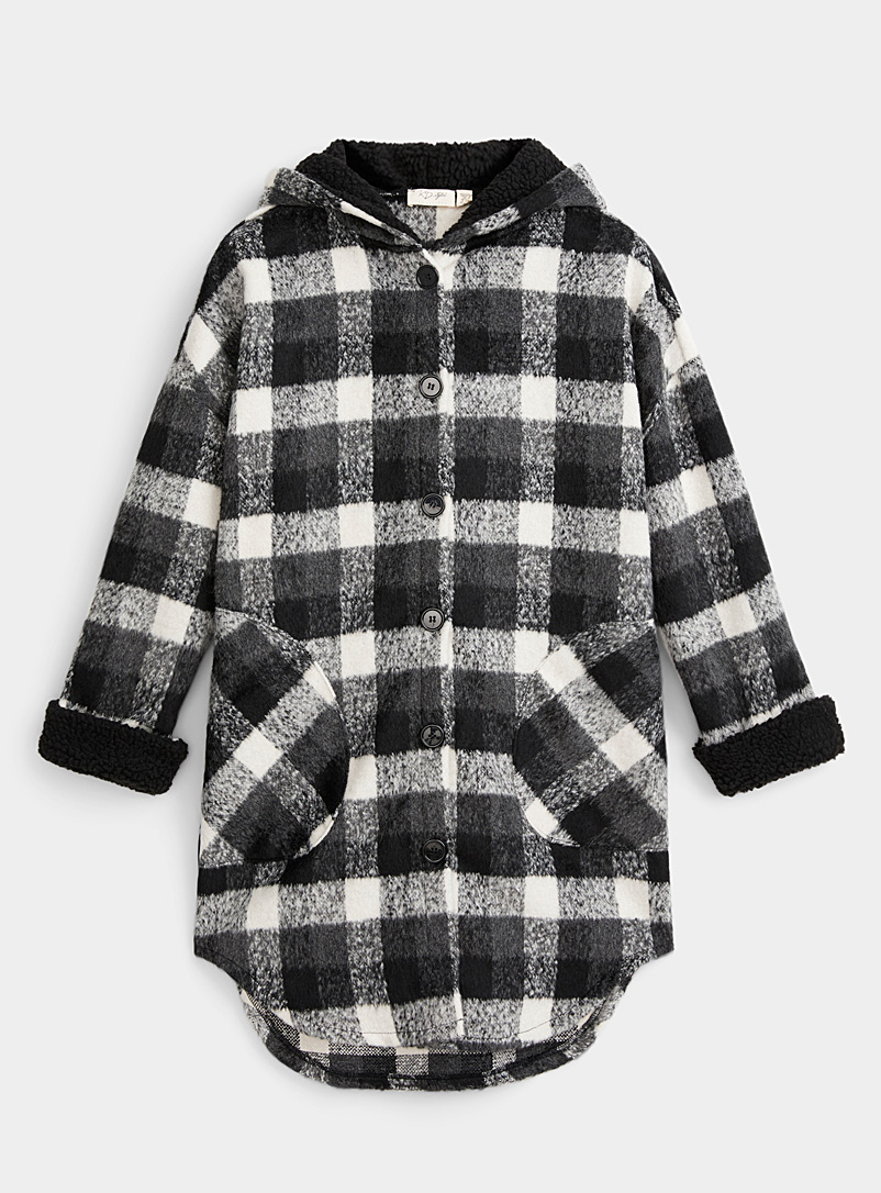 Twik Patterned Black Eco-friendly buffalo check overshirt for women