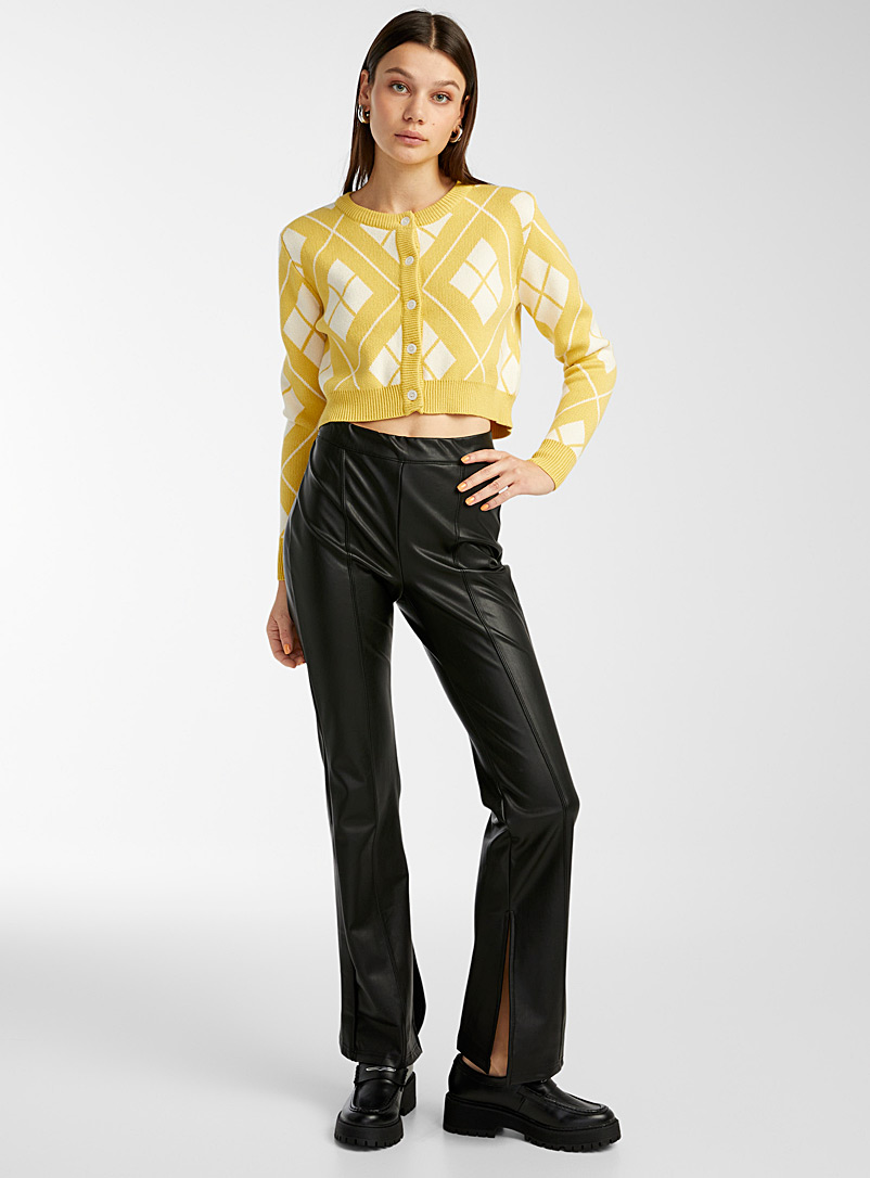 Twik Black Flared faux-leather pant for women