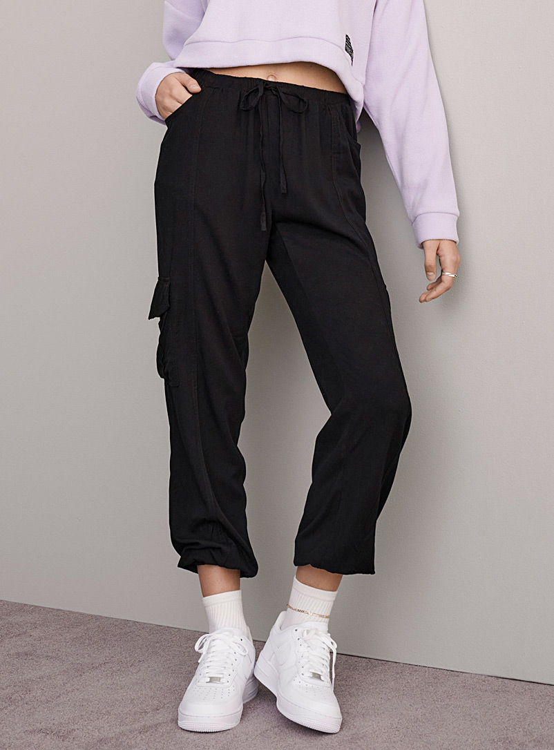 Twik Black Fluid cargo joggers for women