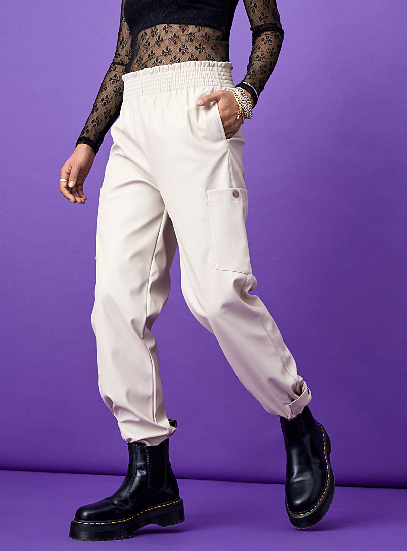 Twik Ivory White Faux-leather cargo pant for women