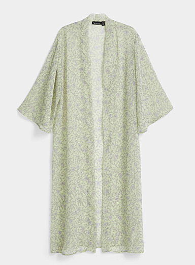 Twik Lime Green Long pastel ivy kimono for women