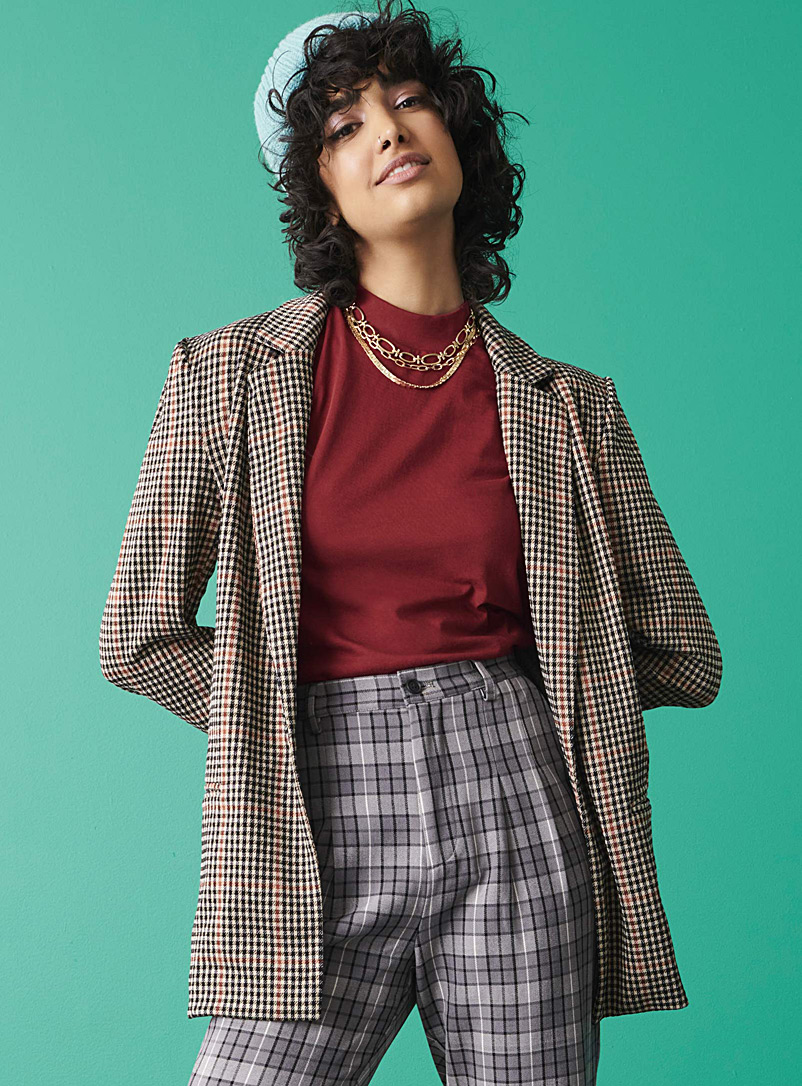 Twik Patterned Brown One-button check jacket for women