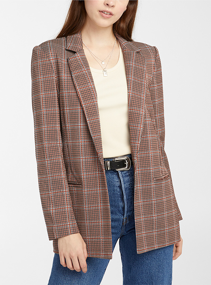 Twik Patterned Red One-button check jacket for women