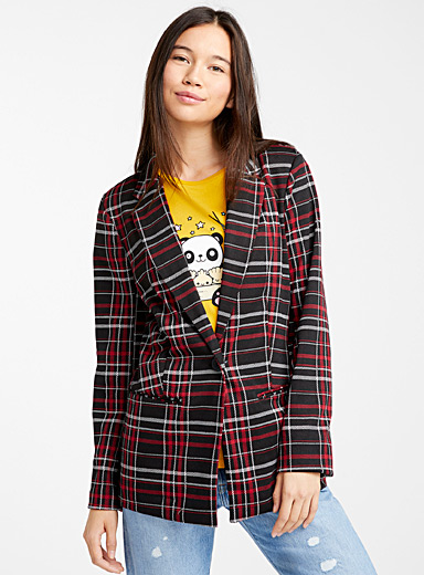 One-button check jacket