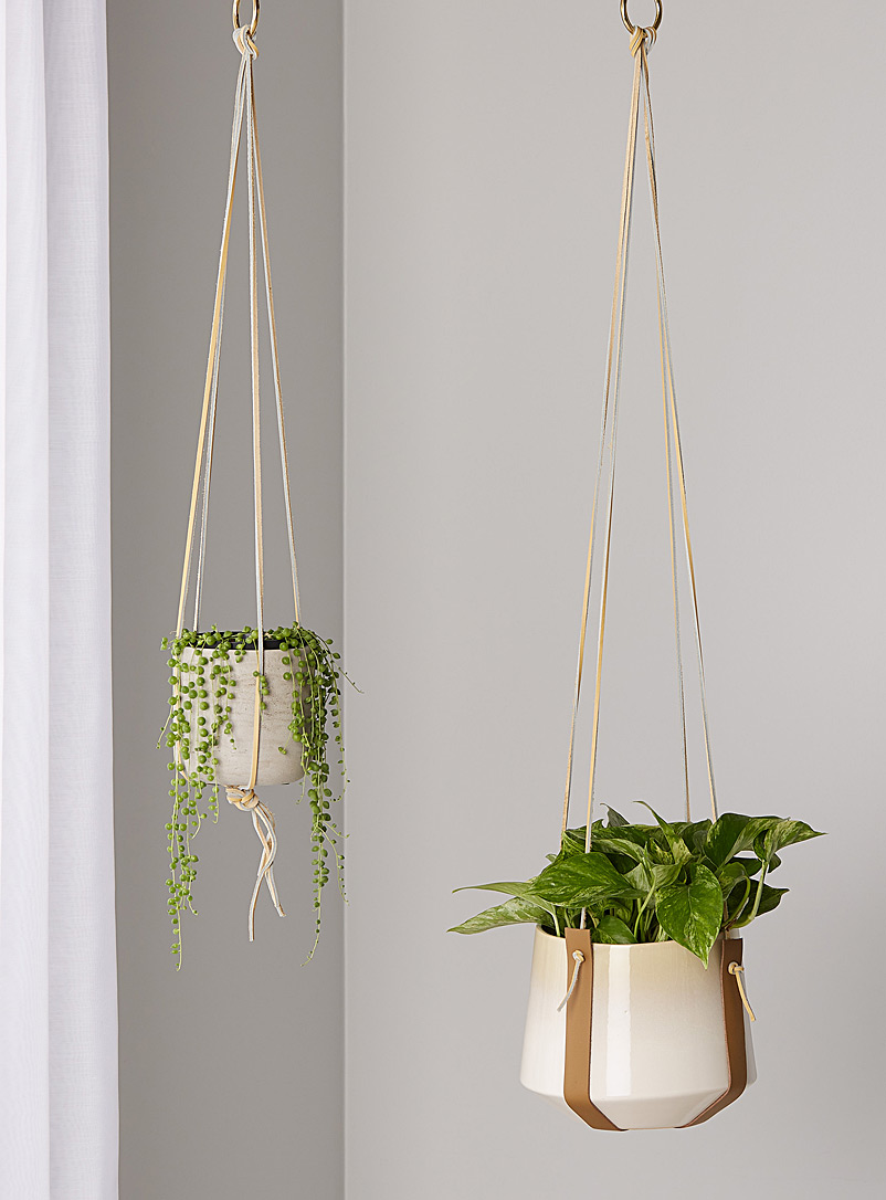 M Forioso Ecru/Linen Set of 2 leather plant hangers