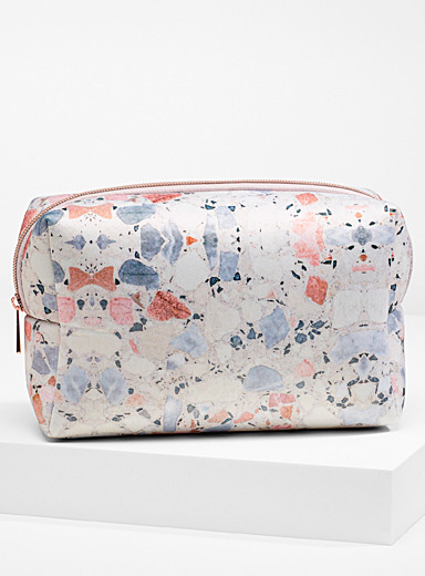 My Tagalongs Patterned White Terrazzo large travel case for women