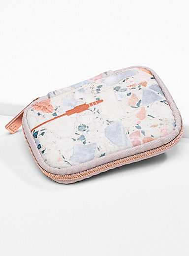 My Tagalongs Patterned White Terrazzo headphone case for women
