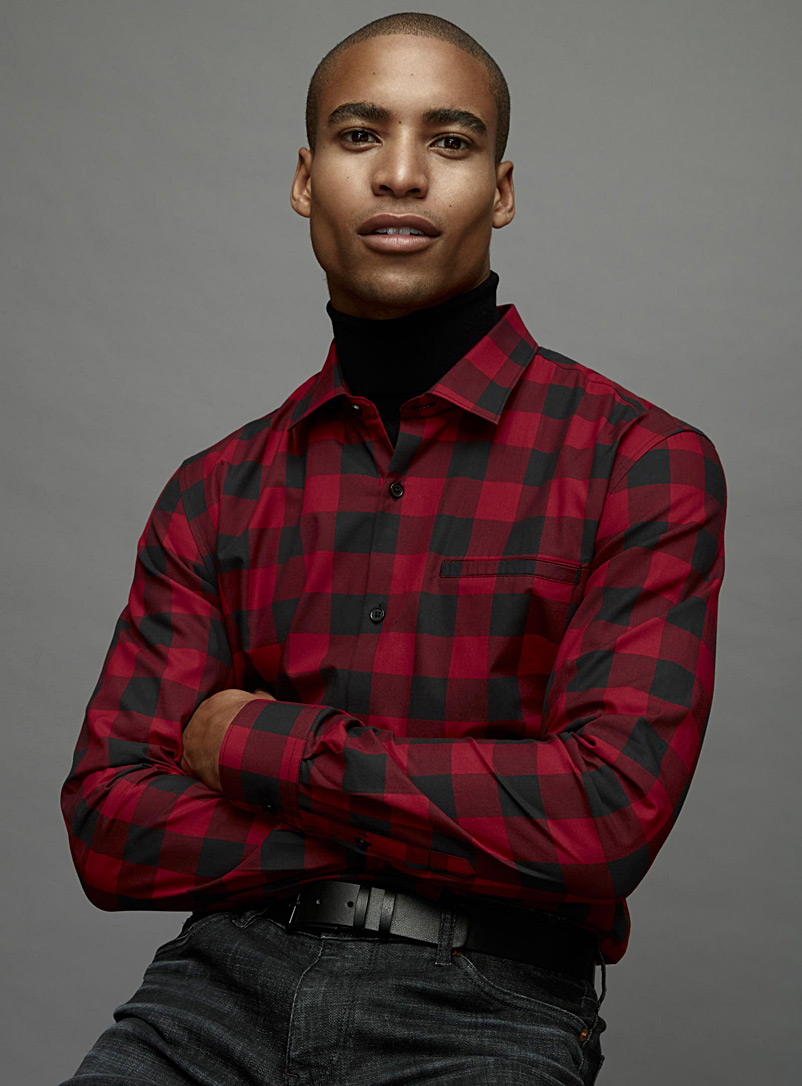 Buffalo check organic cotton shirt  Modern fit - Checks - Ruby Red