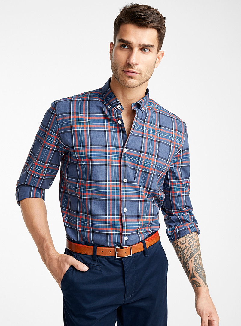 All-over check shirt  Comfort fit - Checks - Blue