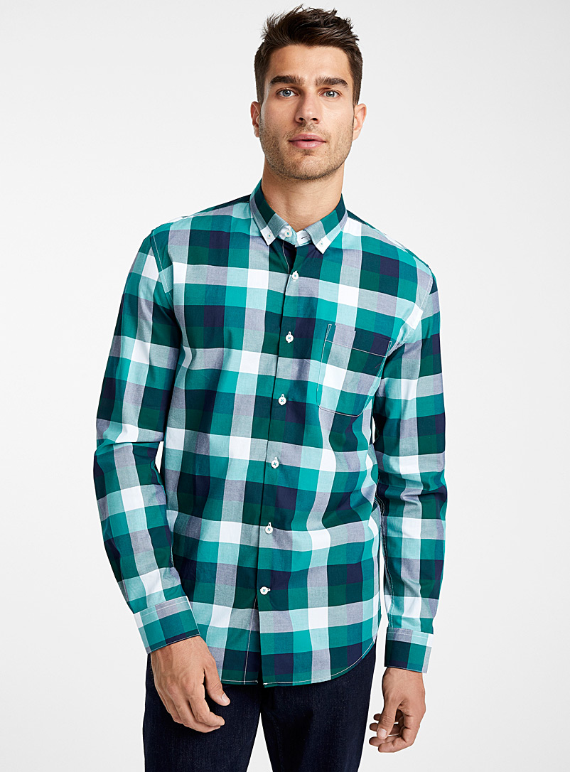 All-over check shirt  Comfort fit - Checks - Teal