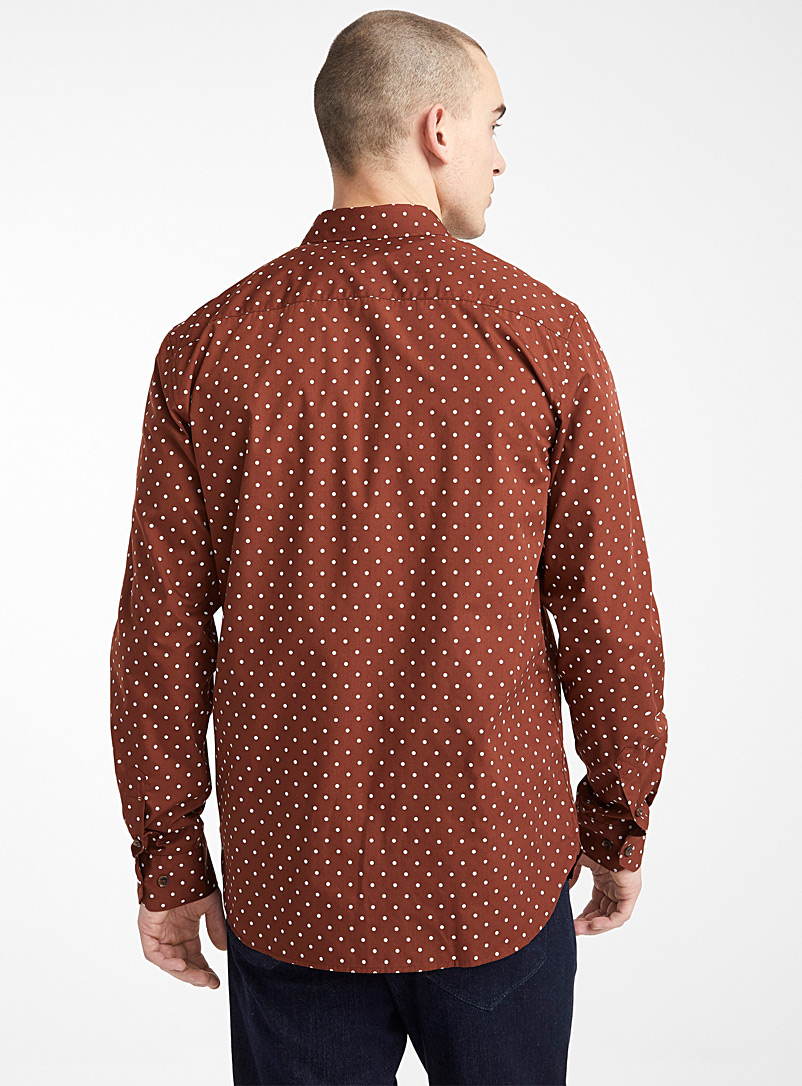 Le 31 Medium Brown Contrast dot shirt  Modern fit for men