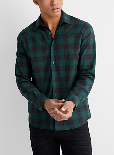 Le 31 Mossy Green Eco-friendly urban check shirt  Untucked fit for men