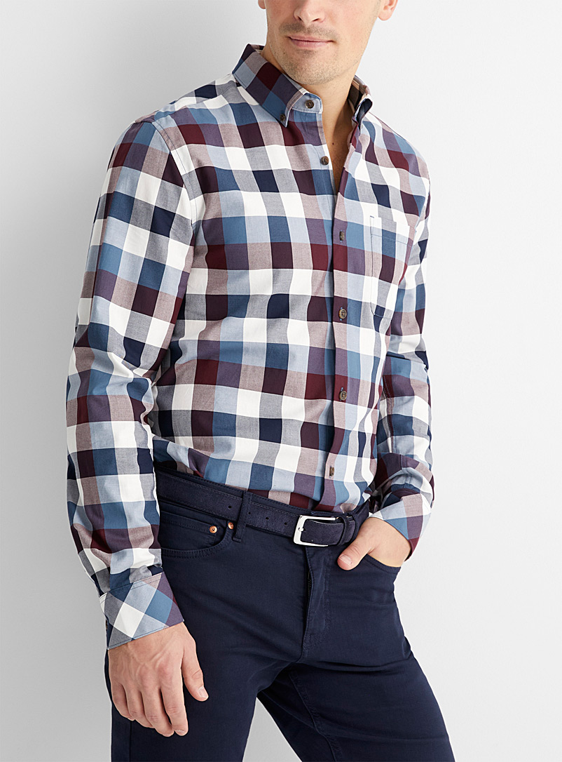Le 31 Slate Blue Graphic-check eco-friendly shirt Modern fit for men