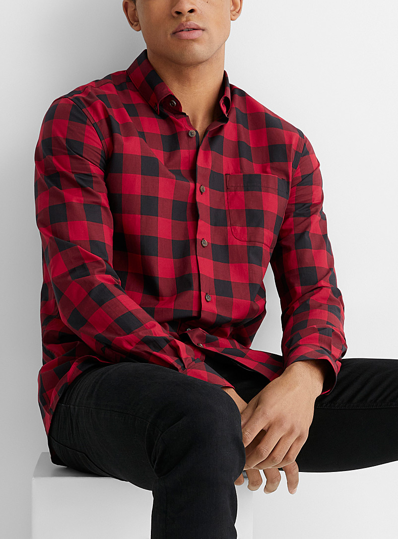 Le 31 Red Fall-check eco-friendly shirt  Modern fit for men