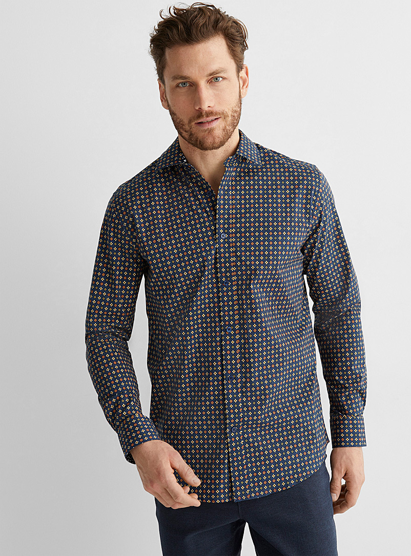 Le 31 Patterned Red Organic cotton mosaic shirt Modern fit for men