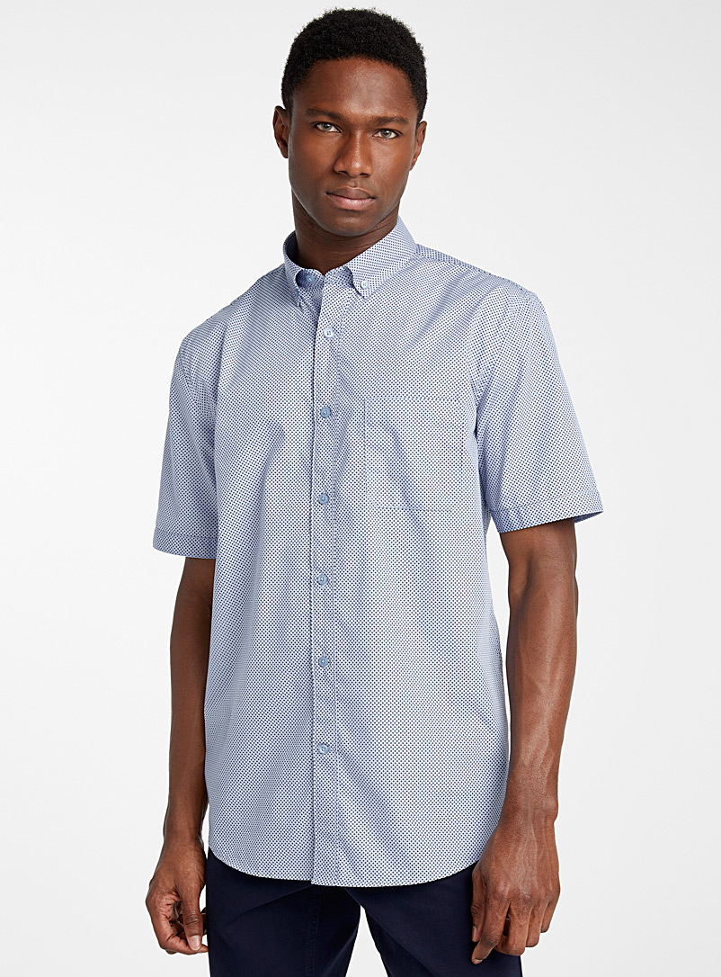 Le 31 Baby Blue Optical plus-sign shirt  Modern fit for men