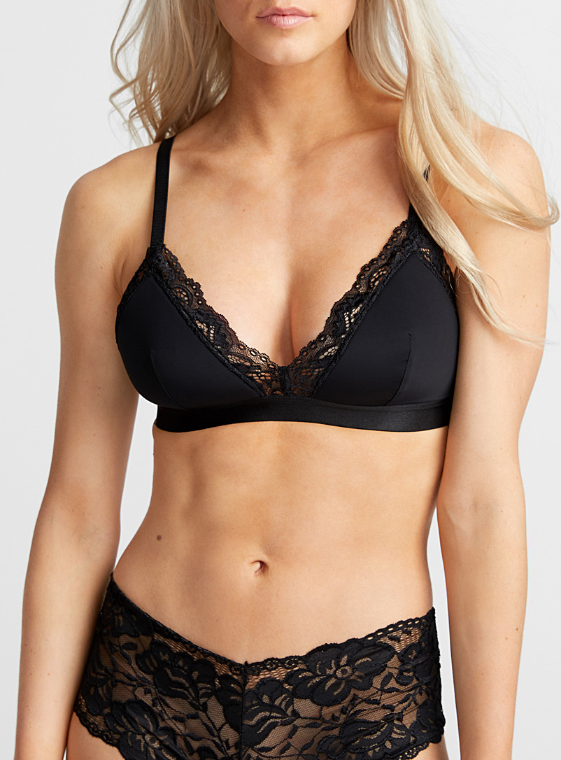 Little-bit-of-lace satiny bralette - Bralettes - Black