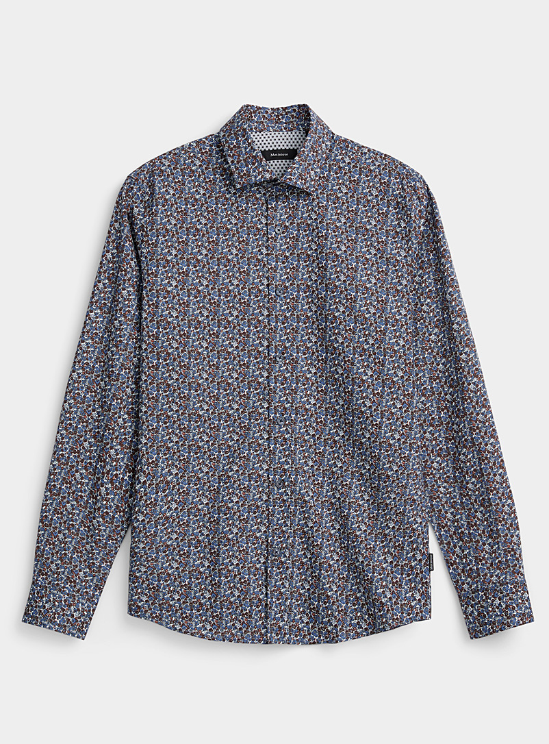 Matinique Blue Traced flowers shirt for men