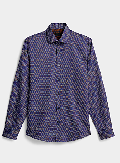 Matinique Blue Two-tone herringbone shirt for men