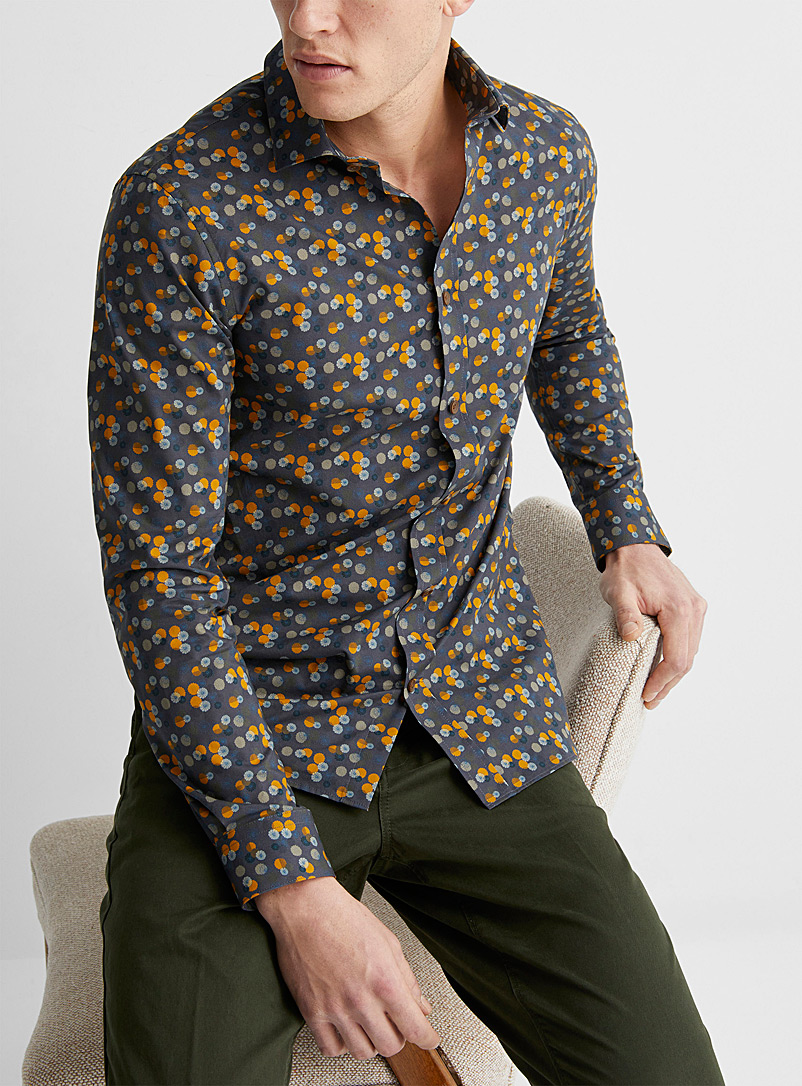 Matinique Charcoal Floral disc shirt   for men