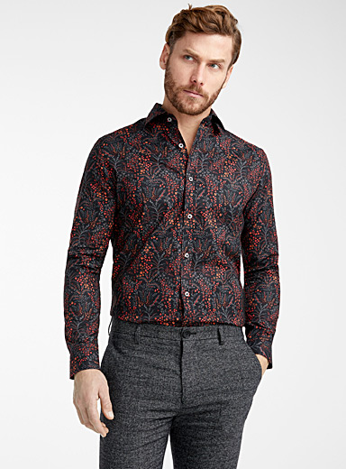 Matinique Black Midnight garden shirt  Modern fit for men