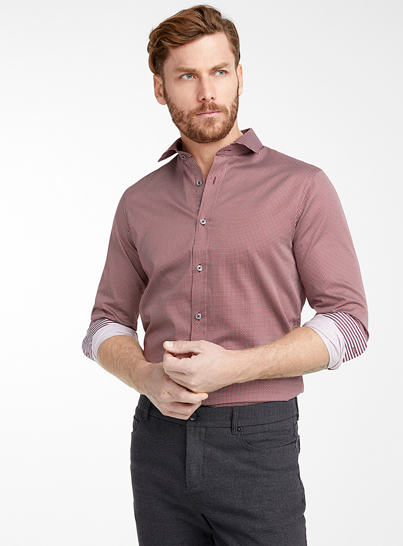 Optical vision shirt  Modern fit - Patterns - Ruby Red